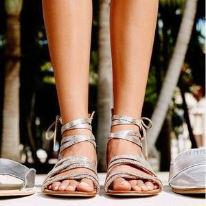 FREE PEOPLE Juliette Metallic Leather Strap Sandal